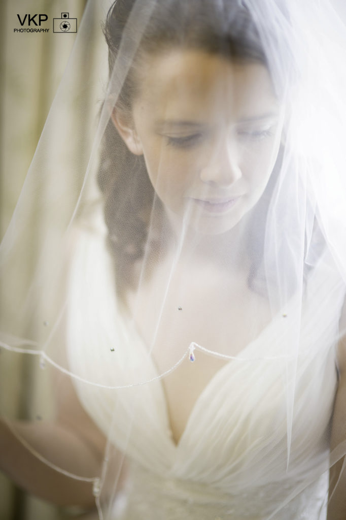 bride white dress veil
