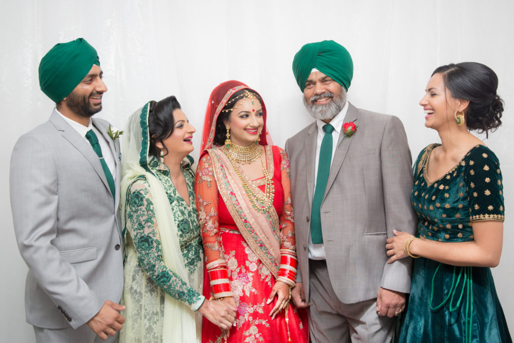 indian bride and parents group photo
