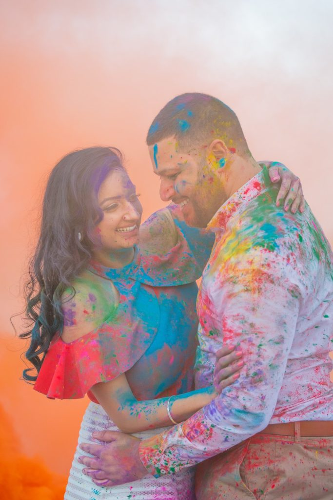 holi photoshoot Birmingham couple