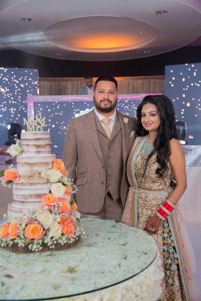 Bride groom reception cake