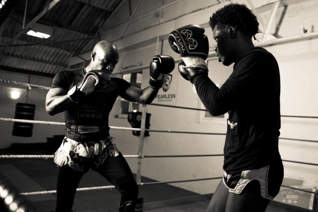 mythai training sparing black and white