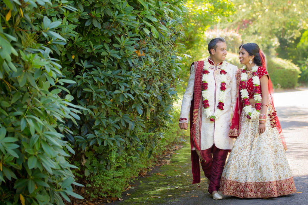 wedding indian couple walking